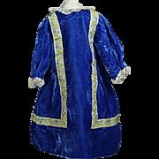 Pretty Blue Velvet Bisque Doll Dress!