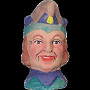 German Antique Store Stock Puppet Theater Doll Head Jester Terra Cotta!