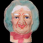 German Antique Store Stock Puppet Theater Doll Head Woman Terra Cotta!