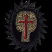 Antique Knights Templar Masonic Metallic Cross Emblem Patch