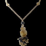 "10K Gold Necklace w/ Rutilated Quartz & Natural Cobalt Spinel Beads Tassel 19"""
