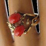 Vintage 14K Oxblood Red Coral Cabochons Ring Size 7.5
