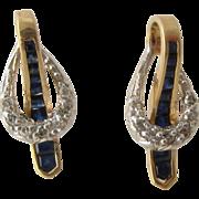 14K White & Yellow Gold Sapphire Diamond Earrings Drop Post