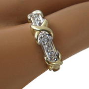 14K Diamonds and X Shapes Ring Size 7