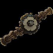 1860-80s Etruscan Revival MOP Pearl Enamel Gold Fill Pin