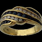 18K Yellow Gold Sapphires Diamonds Ring Channel Set Sz 6 3/4