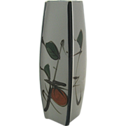 1960s Tall Square Hand Painted Vase Japan Mid Century
