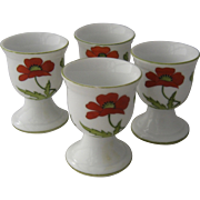 Set 4 Ca 1930s Egg Cups w/ Poppies Hand Painted Bone China