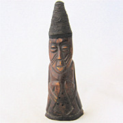 Old Yoruba African Fertility Figure Carved Horn Wire Hair