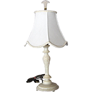 1930s Aladdin Alacite Boudoir Lamp w/ Finial & Silk Shade