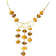 9K Gold Baltic Amber Bib Style Necklace Deco Period
