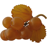 Mid 1900s Russian Honey Amber Cherries Leaves Pin Gold Plated