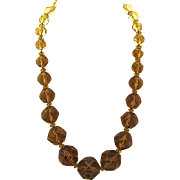Big Chunky Faceted Amber Glass Bead Necklace 18.5""