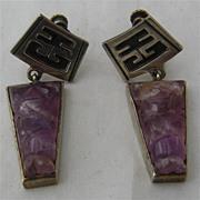 Carved Amethyst Aztec Motif Sterling Dangle Earrings Screw Back