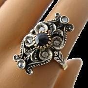 Antique Fancy 18k Ring w/ Rose Cut Diamonds Sapphire Sz 7