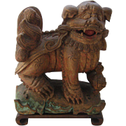 Antique China Carved Wood Foo Dog Shi Shi Lion w/ Cub