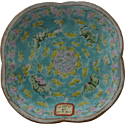 Antique Chinese Enamel Porcelain Bowl Bats & Butterflies