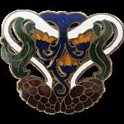 Ca 1900 Art Nouveau Enamel Brass Buckle Bold Colors