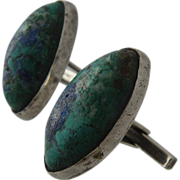 Artist Made Sterling Azurite-Malachite Cufflinks Cuff Links