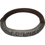 """Ca 1930 Chinese Silver & Bamboo Wood Bangle Bracelet Repousse Sz 8.25 """""""