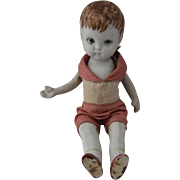 German Bisque Boy Doll Jointed Arms Legs Original Clothes 7""