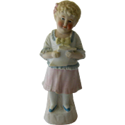 Early 1900s German Bisque Caroler Girl Figure 10""