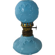 Ca 1900 Complete Miniature Oil Lamp French Blue Milk Glass