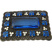 Sash Pin Rectangular Filigree Enamel Clover Blue Stones