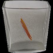 Kosta Boda Sweden Rectangular Vase w/ Lines of Enamel