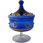Early 1900s Bohemian Covered Candy Dish w/ Glass Jewels Gilt