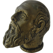 Early 1900s Brass Socrates Head Cane Top