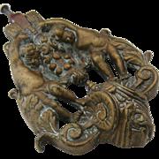 Antique Victorian Large Bronze Doorknocker w/ Cherubs