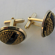 Black Glass Stripe Studded Brass Button Cuff Links