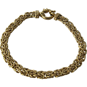 Turkish 14K Yellow Gold Byzantine Bracelet 7 1/4""