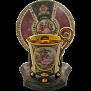 Mayer Wiesau Cabinet Demitasse Cup Saucer Gilt Courtship Scene by Fragonard