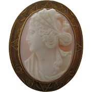 Ca. 1900 Cameo Pin Brooch 10k Hand Chased Gold