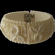 """1950s Carved """"Celluloid"""" Floral Daffodils Clamper Bracelet 6 3/4"""""""