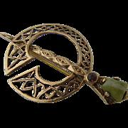 1948 Irish 9K Tara Celtic Brooch Connemara Marble Tourmaline
