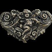 Art Nouveau Repousse Cherub Buckle Silver Plated