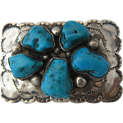 Navajo Sterling Kingman Turquoise Belt Buckle Small Size