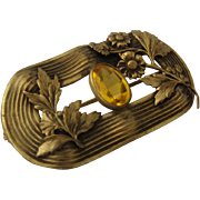 Gilded Brass Sash Buckle Pin Citrine Glass Flowers Relief