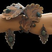 Fabulous Mid Century Copper Cuff Bracelet Earrings Leaves Scarabs