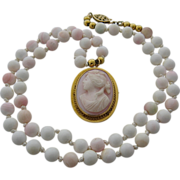 10K Pink Conch Cameo w/ Angel Skin Coral Beads Necklace