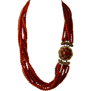 Fabulous 14K Multi Strand Coral Beaded Necklace Large Fancy Clasp