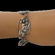 "1940s Sterling Craft by Coro Bracelet Flower Links 7 1/4"""