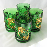 SOLD 1897 Croesus Tumbler Emerald Green Gold Riverside EAPG