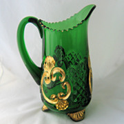 SOLD 1897 Croesus Water Pitcher Emerald Green Gold Riverside EAPG