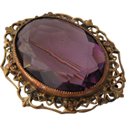 Czech Filigree Large Amethyst Glass Pin 1930s