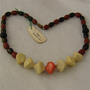 Ca 1930s Funky Czechoslovakian Glass Necklace  w/ Tag