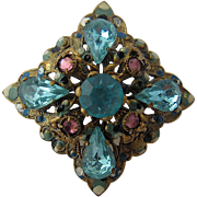 1930s Czech Topaz Blue Filigree Pin